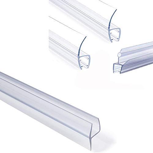 Shower Glass Door Seal Frameless Shower Door Bottom Seal Shower Door Sweep Rubber Plastic Shower Screen Seal Strip For 6mm/8mm/10mm/12mm Thickness Curved/Flat Glass Bath Door 100mm Length (Curved Bath Shower Screen Rubber Plastic Seal)