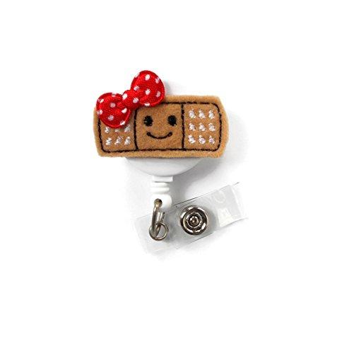 Smiling Bandaid Red - Retractable Badge Reel - Name Badge Holder - Nurse Badge Holder - School Nurse Badge - Felt Badge - Rn Badge Holder