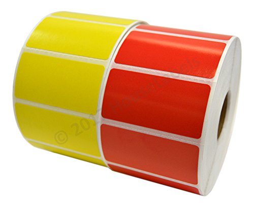 10 Rolls 13000 Labels, Zebra Eltron Compatible Direct Thermal RED and YELLOW, 5 Rolls Each Color, 2 x 1 Labels (2