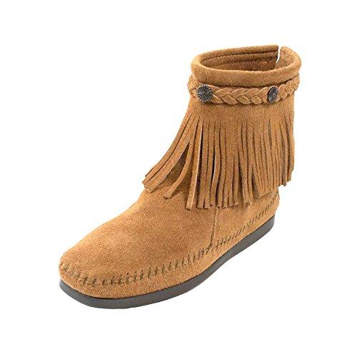 Minnetonka Hi Top Back Zipper knöchelhohe Fransen Damen Booties aus Wildleder mit Fußbett und Laufsohle aus Gummi neu Taupe