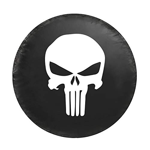 Kenkesh Skull Spare Tire Cover for RV, Jeep Wranglers, Boat Trailer. Choose from Multiple Designs with Flag & Crossbones. Rugged Weather Resistant Leather Grain Vinyl (XL(17 INCH), Skull ()
