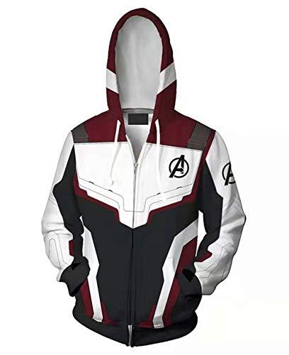 Endgame 3D Print Zipper Hoodie Super Hero Quantum Realm Cosplay Jacket for Adult ()