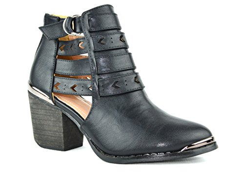 Chase & Chloe Coddy-2 Ankle Womens Bootie With Adjustable Ankle Strap Closure Black 3tfR0kW60f