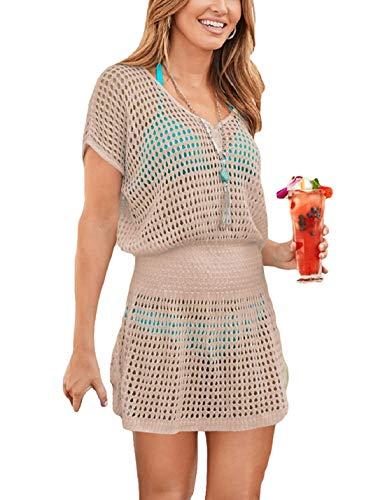 Ailunsnika Women Sexy V Neck Hollow Swimwear Cover Up Crochet Knitted High Waist Short Tunic Beach Dress Apricot