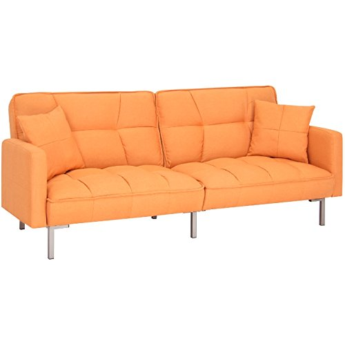 Orange Convertible Futon Linen Tufted Split Back Couch With Pillows Sofa Bed Mattress Recliner Lounger Sleeper Home Living Room Bedroom Modern Furniture Decoration Multi-Position Adjustable (Patio Furniture El Paso)