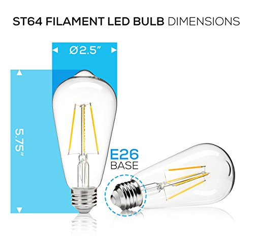 500 Lumen 3000k Dimmable Led: Hyperikon 5W Dimmable ST64 LED Vintage Filament Bulb, 500