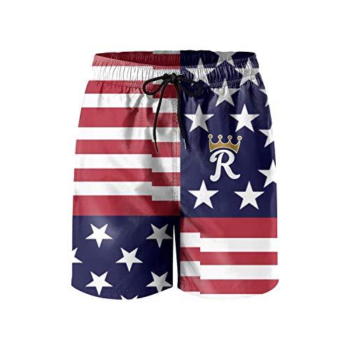 (dasndopi Kansas City King Crown American flagBoy Beach pantsoverall shortsSummer Beach Pants for Men)