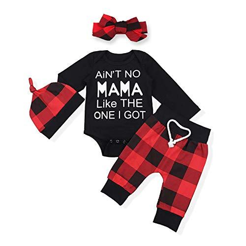 Newborn Infant Baby Boys Girls Fall Romper Outfit Long Sleeve Cute Letter Jumpsuit+Plaid Pants 4PC Winter Clothes Set (Black, 12-18 Months)