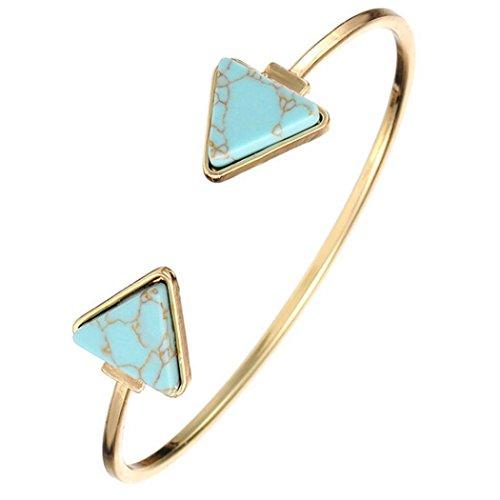 Susenstone Retro Stylish Open Bangle Triangle Marble Turquoise Stone Cuff Bracelet (Blue)