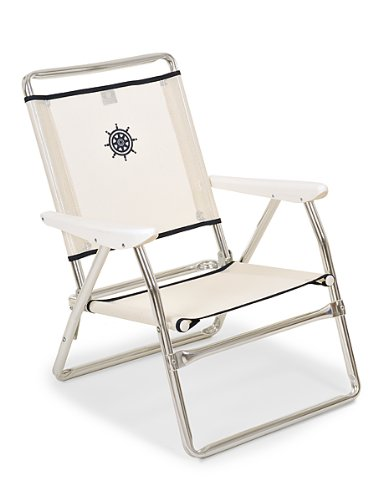 """FORMA MARINE chaise de plage pliable """"Plaz"""" Structure en aluminium anodise Ø 25mm, Tissu: Textilene 650gr/m2, blanc. Pour usage exterieur, plage, camping,plein air,pique-nique. Pliante PA600A"""
