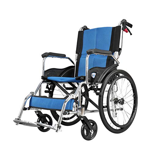 Amazon.com : Aluminum Alloy Transport Chair Lightweight, Self-propelled Wheelchair Foldable Band Double Brakes, Suitable for Elderly Leg Injury Care, ...