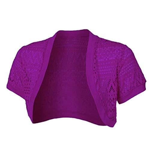 Estilo Moderno Mujeres Bolero Color Otoño Battercake Mujer Sólido Slim Casuales Fit Violett Chaqueta Camisas Cardigan Manga Hueco Crop Tops Corta xfTqfaPw