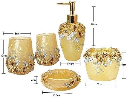 Amazon Com Narwaldate High Grade 5 Pieces Bathroom Accessory Set With Luxury Rose Ensemble Retro Golden Resin Bathroom Accessory Set Gold Home Kitchen