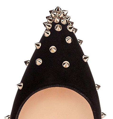 Merumote Femmes Minces Chaussures À Talons Pointus Orteils Rivets Goujons Pour Les Pompes De Soirée Robe En Daim Noir Avec Des Rivets Dor Pour 12cm Talon