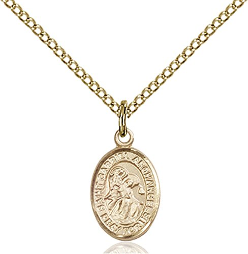 14K Gold Filled Saint Gabriel the Archangel Petite Charm Medal, 1/2 (Gold Saint Gabriel Medal)