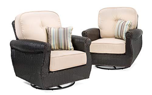 La-Z-Boy Outdoor Breckenridge Resin Wicker Swivel Rocker 2 Piece Patio Furniture Set (Natural Tan) With All Weather Sunbrella Cushions