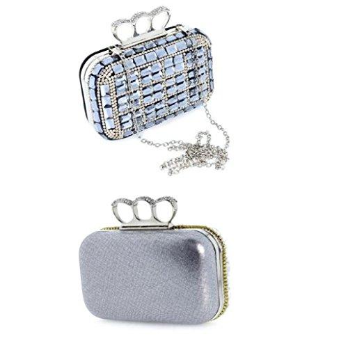 WenL Silver Di Borsa Sera Moda Pochette Da Europea Ed Per Silver Di Americana Di Strass Strass rwr64UBq
