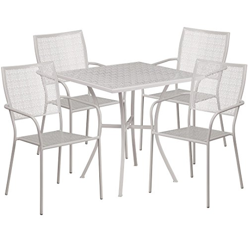 MFO 28'' Square Light Gray Indoor-Outdoor Steel Patio Table Set with 4 Square Back Chairs