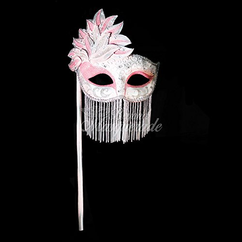 Stick Masquerade Mask Venetian Plazzo Mardi Gras Costume Accessory Women Adult Costume Masks (Pink) (Pink Stick Mask)