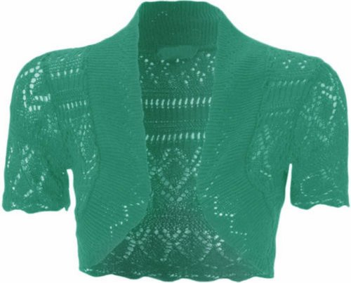 Nueva mujer Plus Size croché Knit atuneros-red Bolero se encoge de hombros Tops 36-48 Jade Verde
