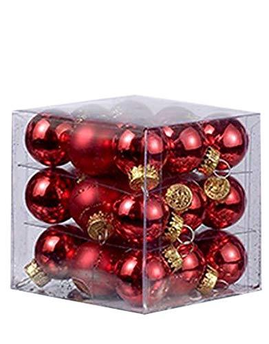 Decorated Ornaments Glass Ball - Christmas Mini Red Decorated Glass Ball Ornaments 25MM Set of 27
