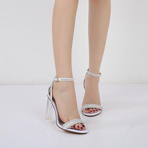 Diamante Abierto La Pie Boda Dedo bola Del L Mujeres 5 Las Purple Con Tacones Sintéticos Cristal De Zapatos F2615 Seda yc tqB7w4BgOH