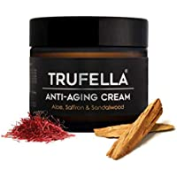Trufella Natural Hydrating Day or Night Anti Ageing Face Moisturiser for Firm Age Defying Skin for Men and Women (Saffron and Sandalwood) -50 g