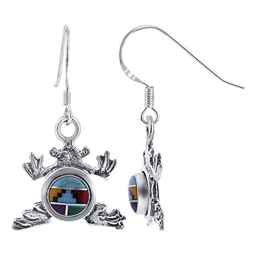 (Gem Avenue Sterling Silver Round Multi Stone Concho Frog 1.25 inch long Drop Earrings #GE235)