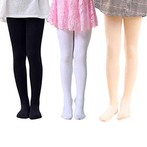 Whyme Pack of 3 Kids Girls Baby Ballet Dance Tights Soft Microfiber Footed Velvet Stockings Pantyhose Tights M(black white peach 4-6T) (White Velvet Stocking)
