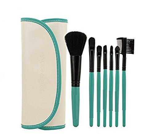 KOLIGHT 7pcs Fashion Mini Travel Cosmetic Makeup Make up Brushes Set with Pouch Bag Case (light blue)