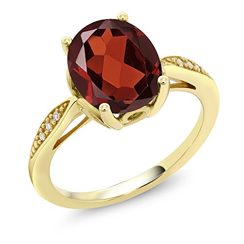 - Gem Stone King 14K Yellow Gold Red Garnet and Diamond Women's Ring 2.54 Ctw Oval (Size 8)