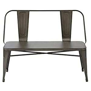 BTEXPERT Industrial Antique Copper Rustic Steel Frame Distressed Metal Dining Bench with Full Back Wood Seat, Bronze…