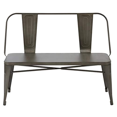BTEXPERT AM5061CC Industrial Dining Chair Steel Frame Bench, Bronze Metal, - Metal Bench Dining Room