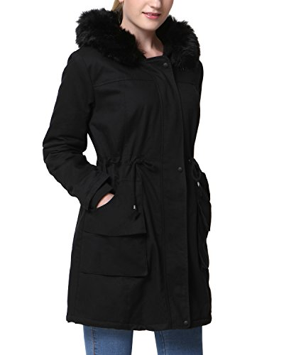 - Mixfeer Womens Hooded Warm Coats Faux Fur Lined Parkas Waist Drawstring