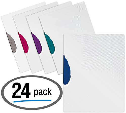 Presentation Folder Report Covers, 24 Count, No Punch Report Covers, Textured Clear with Assorted Color Swivel Clip Swing Lock, Letter Size, 24-Pack