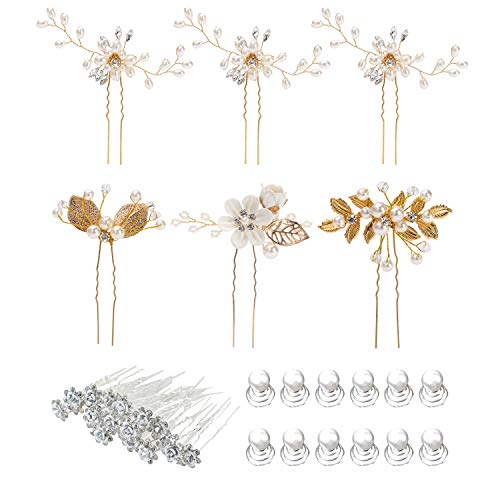 - 38 Pack Women Wedding Bridal Bride Hair Clips Side Combs Gold Decorative Bobby Pins Barrettes Vines Party Prom Headpiece Hairstyle Accessories Vintage Crystal Rhinestone Pearl Flower Ivory Silver Gold