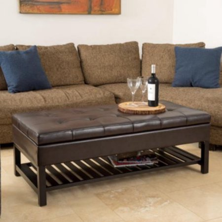 Wholesale Interiors Rectangular Ottoman - Classy Bedroom & Living Room Bench That Makes Coffee Table, And Storage Inside, Padded Rectangular Top, Button Tufted, Faux Leather, Wood And Bonded Leather Construction, Espresso Finish