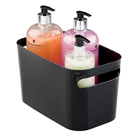 mDesign 2er-Set Badkorb aus Kunststoff – Aufbewahrung für Kosmetik, Shampoo, Lotion, Parfüm etc. – auch als Handtuch Aufbewahrung geeignet – schwarz MetroDecor 1683MDBST
