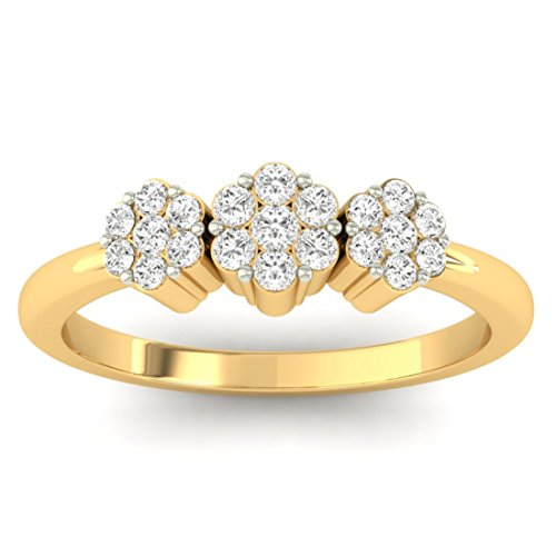 14K Or jaune 0.24CT TW Round-cut-diamond (IJ | SI) en diamant