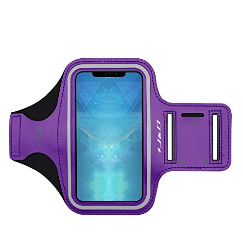 """J&D Armband Compatible for iPhone Xs Max 6.5"""" Armband, Sports Armband with Key Holder Slot for Apple iPhone Xs Max 6.5 inch Running Armband, Perfect Earphone Connection While Workout Running - Purple"""
