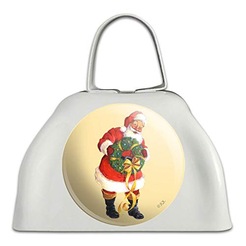 Christmas Holiday Santa Holding Wreath White Metal Cowbell Cow Bell Instrument