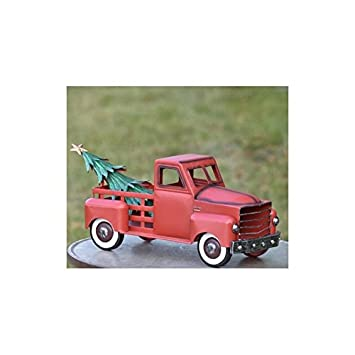 Zaer Ltd. Metal Holiday Truck with a removable Christmas Tree Red