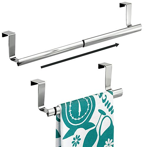 mDesign Kitchen Over-the-Cabinet Expandable Towel Holders for Hand Towels, Dish Towels - Pack of 2, 9, Chrome