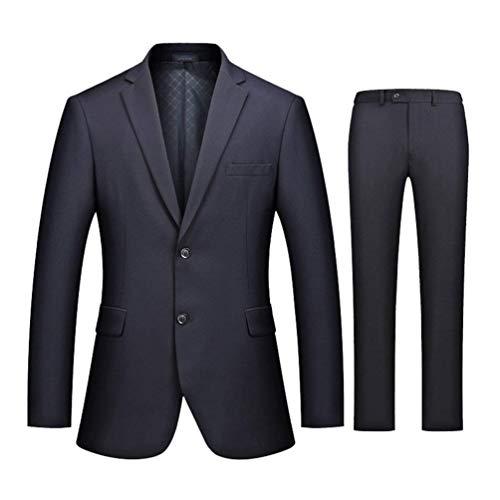 Da Stile Fit Bavero Vintage Retrò Semplice Sportiva Tweed Manica Marine Slim 2 In Lunga Casual Lavoro Con Elegante Uomo Giacca 5YwS7w