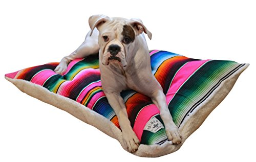 Del Mex Mexican Serape Blanket and Sherpa Dog Bed Pillow (Small, Pink) by Del Mex