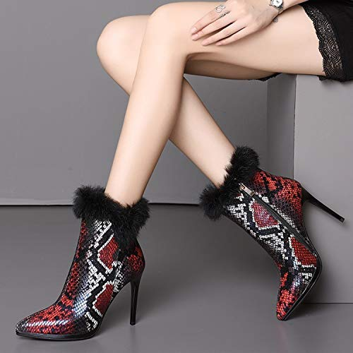 SWEAAY Stiefel Damen Leder High Heels Plus Plus Plus Samt Stiefeletten Spitze Feine Ferse Geprägte Straße Mode Damenstiefel  dc78e6