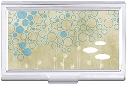White Flower Blue Bubble Abstract Neutral Business Card Holder Case