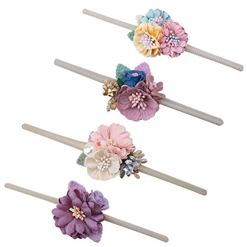 - Baby Girl Floral Headbands Set - 4pcs Mini Flower Crown Newborn Toddler Hair Accessories by mligril, Small