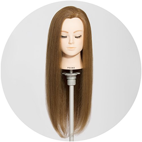 PEKBO 26 Inch 100% Real Human Hair Mannequin Training Head Model ( No Make Up Kit ) by PEKBO