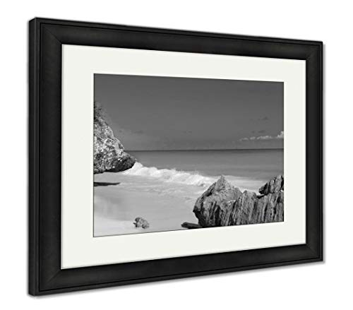 Ashley Framed Prints Tulum Beach Near Cancun Turquoise Caribbean, Wall Art Home Decoration, Black/White, 34x40 (Frame Size), Black Frame, AG5947555